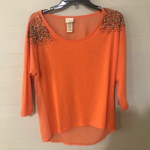 Daytrip Mixed Media Sequined Shoulder Blouse SZ S